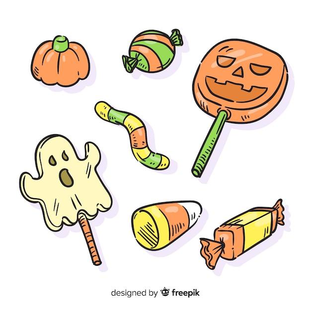 Mão desenhada em lápis coleção de doces de halloween Vetor grátis