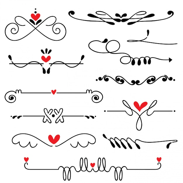 Mão desenhada esboçado linha fronteira casamento arte vetorial ilustração Vetor Premium