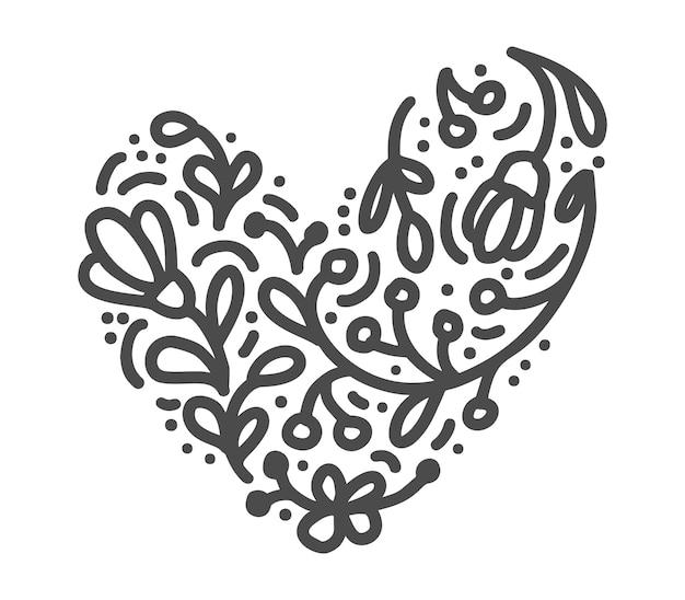 Mão desenhada escandinavo velentines day coração com silhueta de ícone de floreio de ornamento Vetor Premium