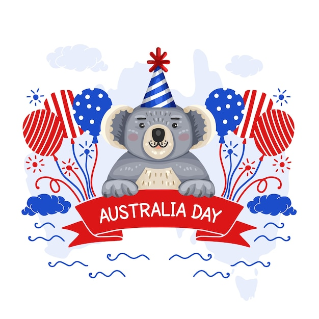 Mão desenhada estilo austrália dia evento com coala Vetor grátis