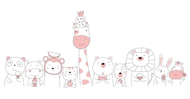 Mão desenhada estilo branco bonito animal dos desenhos animados Vetor Premium