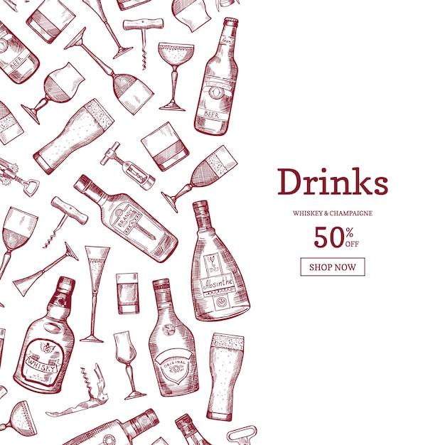 Mão desenhada estilo linear garrafas de bebida de álcool e óculos fundo ilustração Vetor Premium