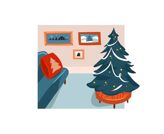 Mão desenhada estoque abstrato feliz natal e feliz ano novo cartoon ilustrações festivas Vetor Premium