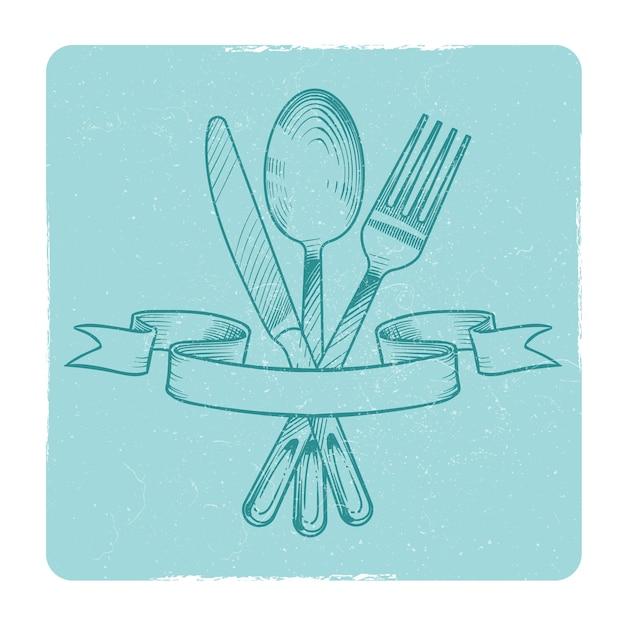 Mão desenhada faca, colher e garfo em fitas retrô isolar. ilustração vetorial Vetor Premium