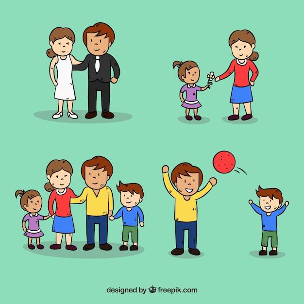 Mão desenhada família em diferentes fases da vida Vetor grátis