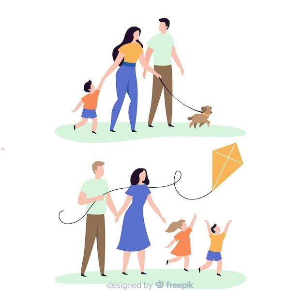 Mão desenhada família fazendo a coleção de atividades ao ar livre Vetor grátis