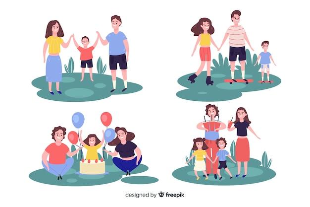 Mão desenhada família na coleção parque Vetor grátis