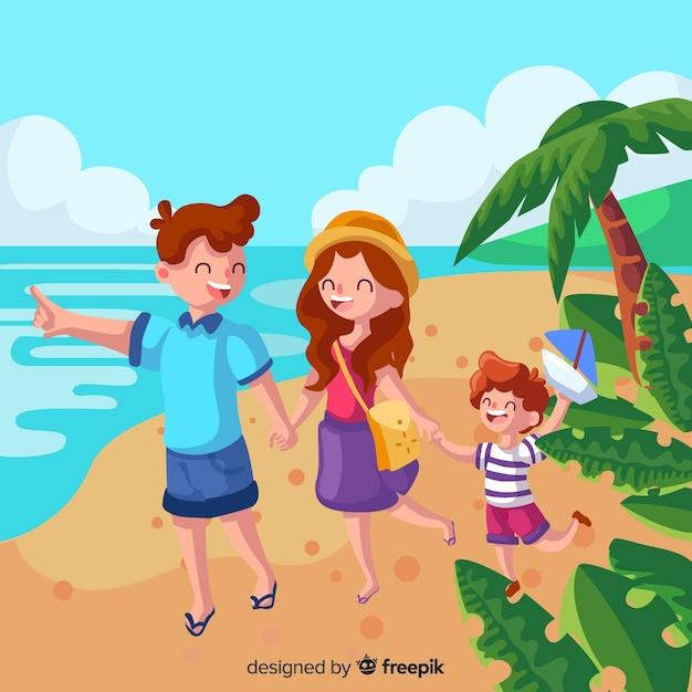 Mão desenhada família viajando fundo Vetor grátis