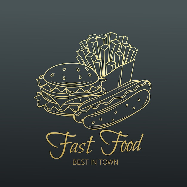 Mão desenhada fast-food no velho slyle Vetor Premium