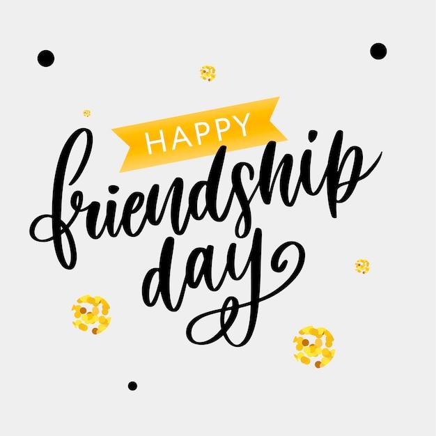Mão desenhada feliz amizade dia felicitation em estilo de moda com letras de texto Vetor Premium
