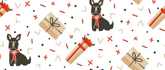 Mão desenhada feliz natal ilustrações de desenhos animados padrão sem emenda com cães Vetor Premium