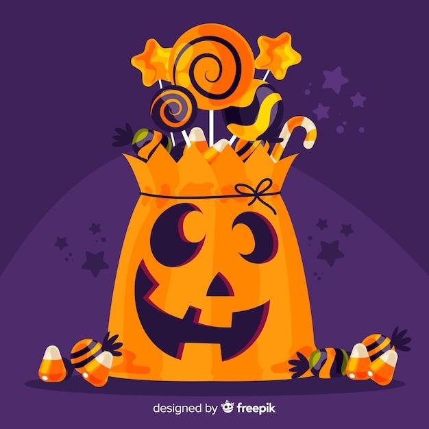 Mão desenhada feliz saco de halloween Vetor grátis