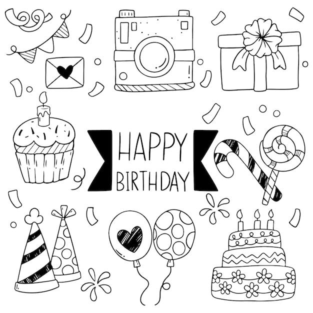 Mão desenhada festa doodle feliz aniversário ornamentos padrão de fundo Vetor Premium