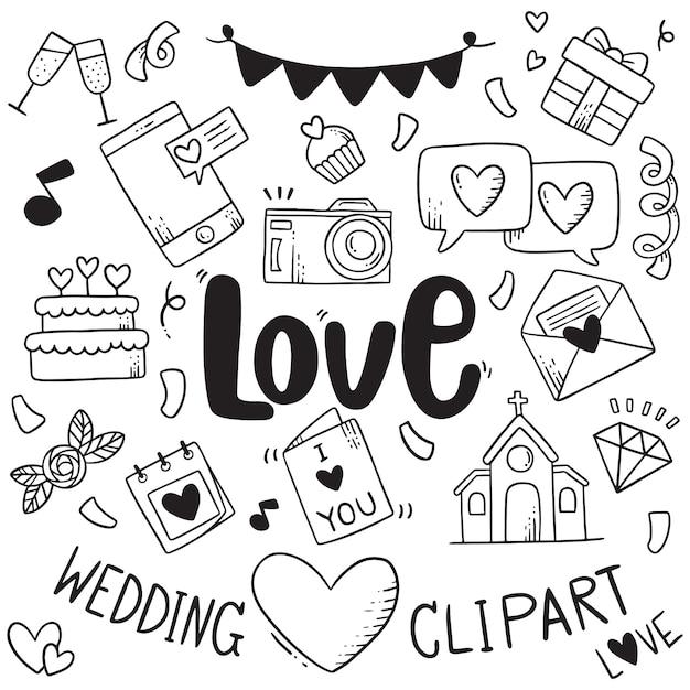 Mão desenhada festa doodles elemento de fundo de elemento de casamento elemento Vetor Premium