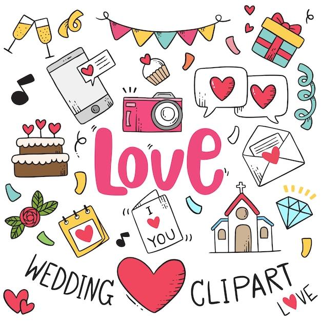 Mão desenhada festa doodles fundo de elemento de casamento. Vetor Premium
