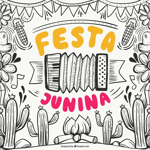 Mão desenhada festa junina fundo com elementos Vetor grátis