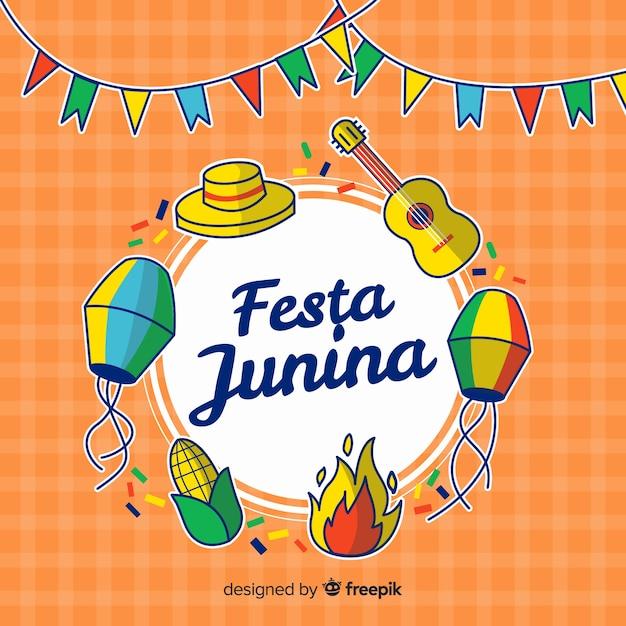 Mão desenhada festa junina fundo Vetor grátis