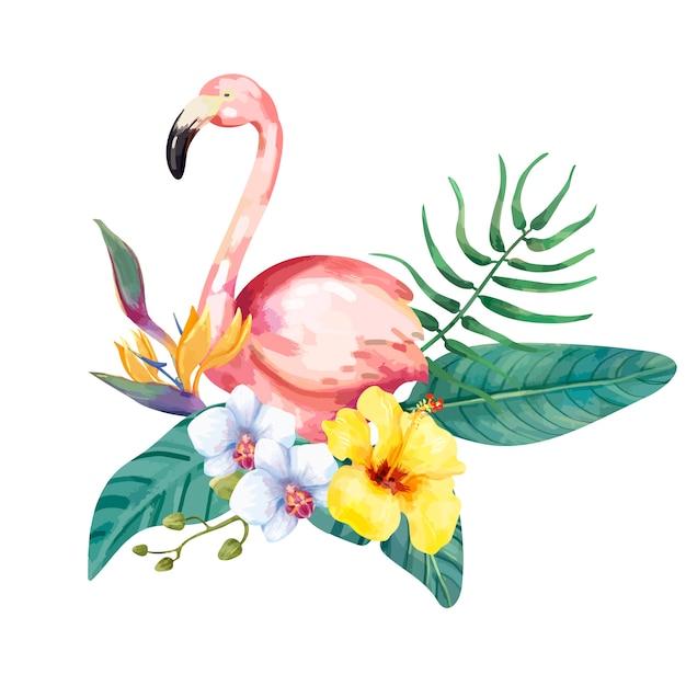 Mão desenhada flamingo pássaro com flores tropicais Vetor Premium