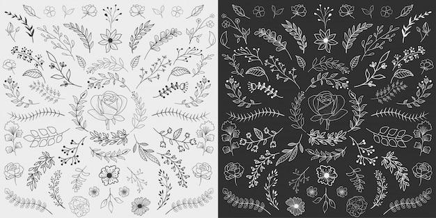 Mão desenhada floral elements vector Vetor Premium