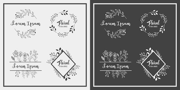 Mão desenhada floral frame design Vetor Premium