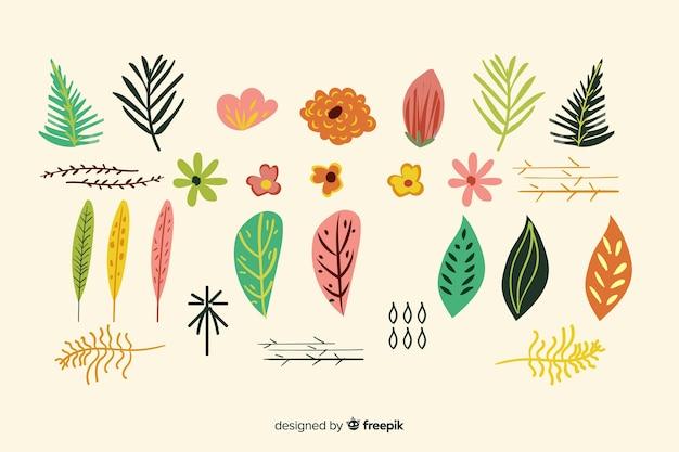 Mão desenhada flores e folhas coleção Vetor grátis