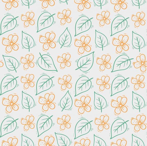 Mão desenhada flores fofas com folhas padrão Vetor grátis