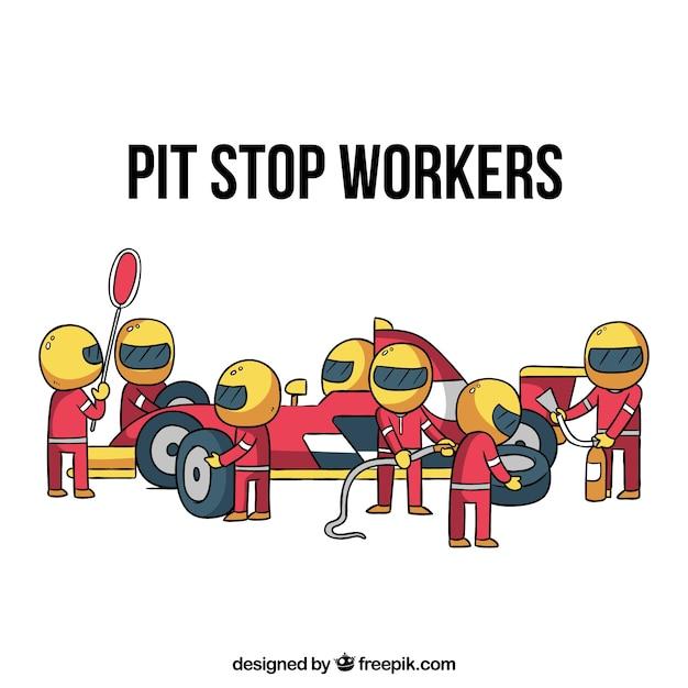Mão desenhada fórmula 1 trabalhadores de pit stop Vetor grátis