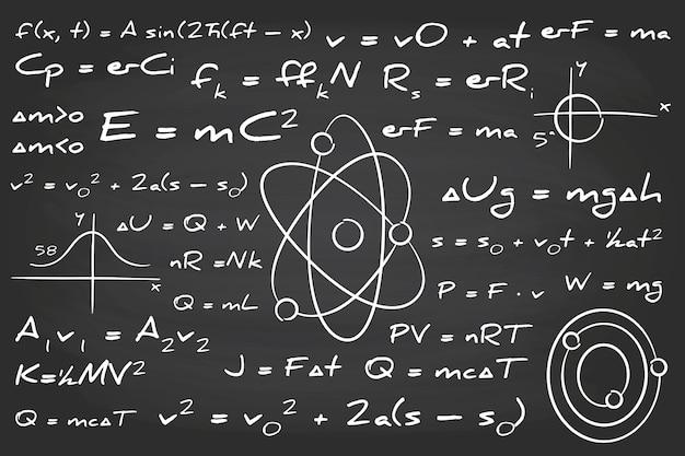 Mão desenhada fórmulas científicas na lousa Vetor grátis