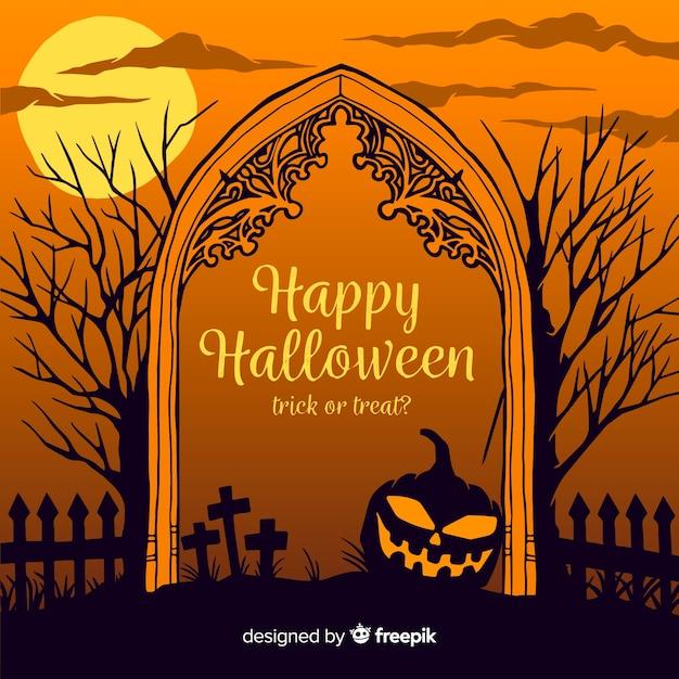 Mão desenhada frame de portão de cemitério de halloween Vetor grátis