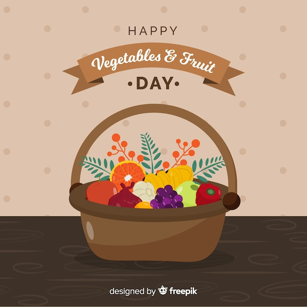 Mão desenhada frutas frescas e cesta de legumes Vetor grátis