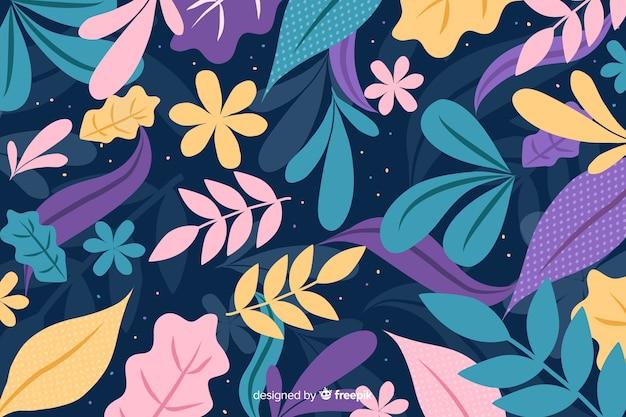 Mão desenhada fundo colorido com folhas e flores Vetor grátis