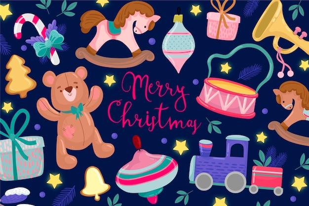 Mão desenhada fundo de brinquedos de natal Vetor grátis