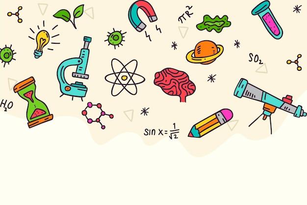 Mão desenhada fundo de ciência Vetor Premium