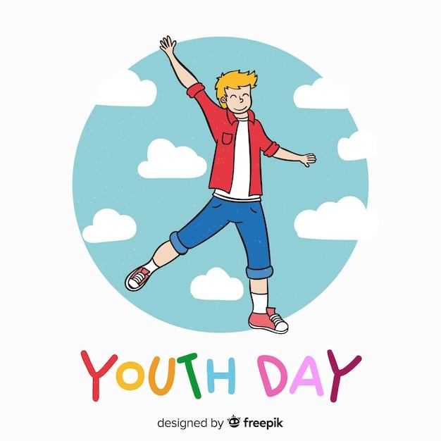 Mão desenhada fundo de dia da juventude com os jovens Vetor grátis