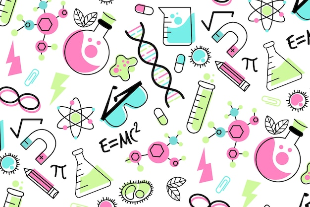 Mão desenhada fundo de educação científica colorida Vetor grátis