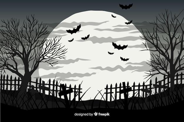 Mão desenhada fundo de halloween com morcegos e lua cheia Vetor Premium