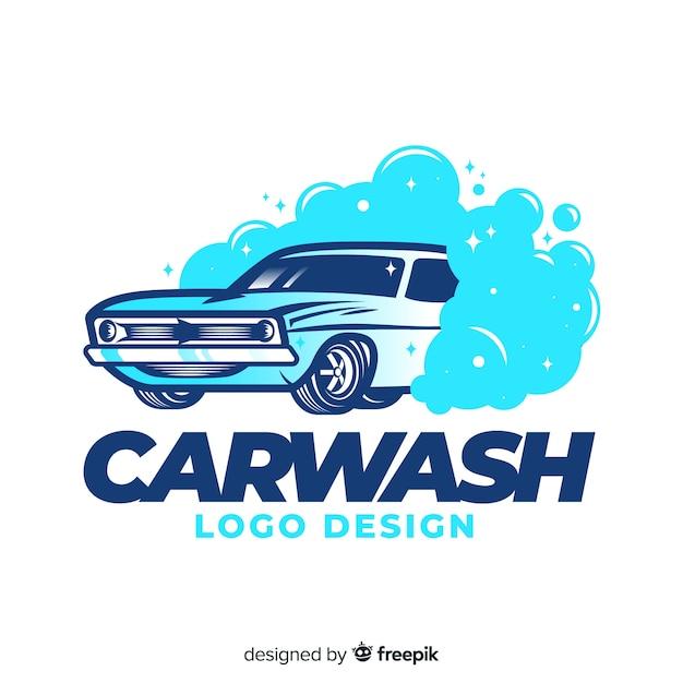 Mão desenhada fundo de logotipo de lavagem de carro Vetor Premium