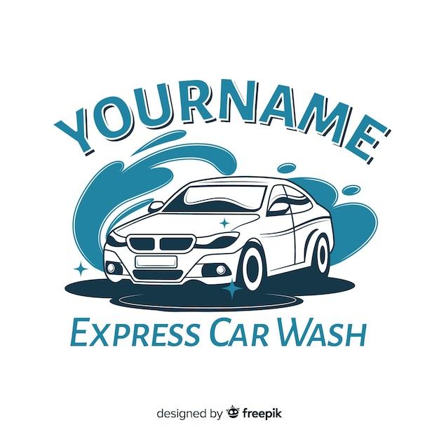 Mão desenhada fundo de logotipo de lavagem de carro Vetor grátis