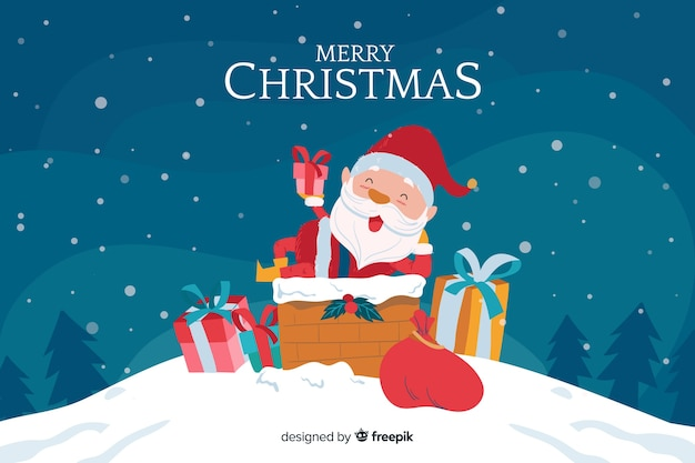 Mão desenhada fundo de natal com papai noel Vetor grátis