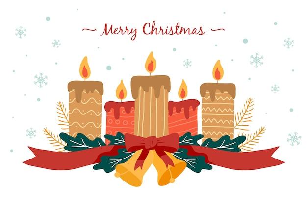 Mão desenhada fundo de vela de natal Vetor grátis