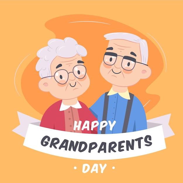 Mão desenhada fundo dia nacional dos avós Vetor Premium