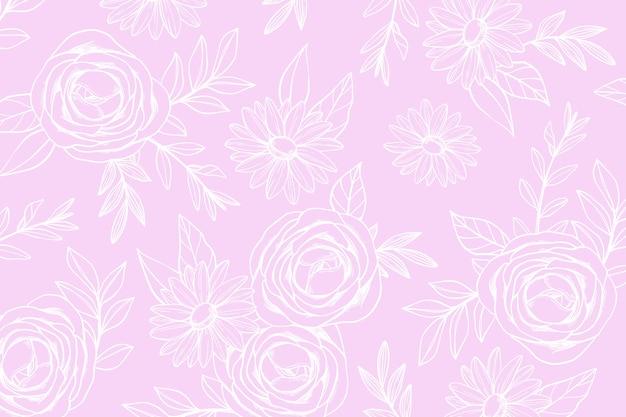 Mão desenhada fundo floral Vetor grátis
