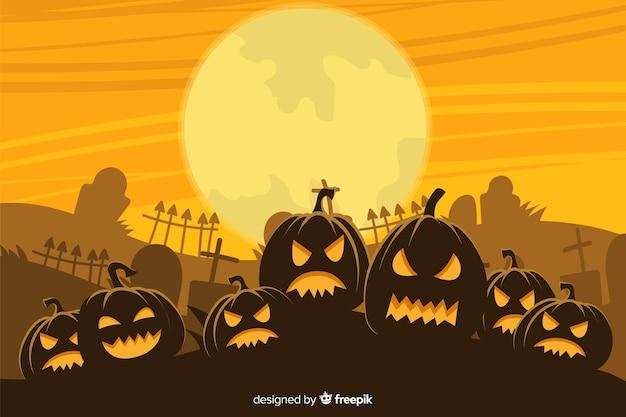 Mão desenhada fundo halloween com exército de abóboras Vetor grátis