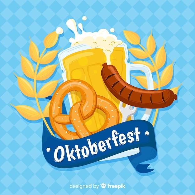 Mão desenhada fundo oktoberfest com cerveja Vetor grátis