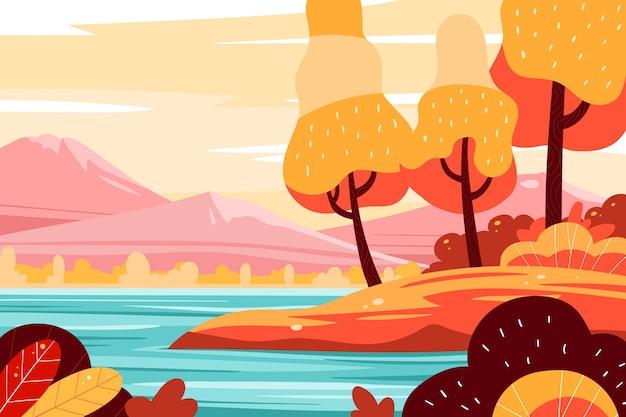 Mão desenhada fundo outono Vetor grátis