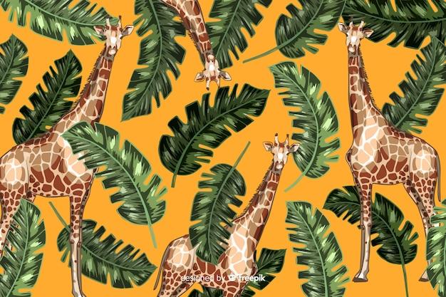 Mão desenhada fundo tropical realista de plantas e animais Vetor grátis