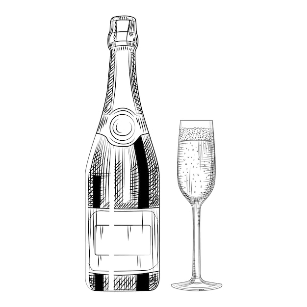 Mão desenhada garrafa de champanhe e vidro. Vetor Premium
