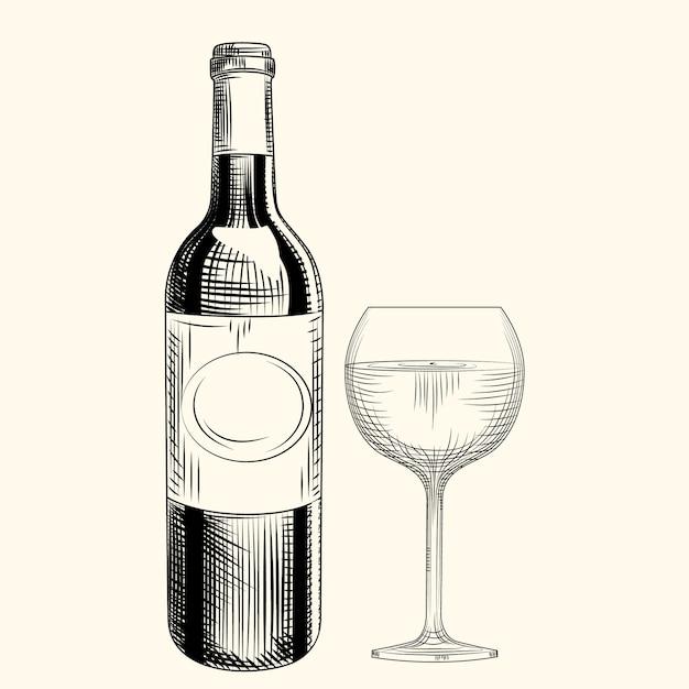 Mão desenhada garrafa de vinho e vidro. estilo de gravura. objetos isolados. Vetor Premium