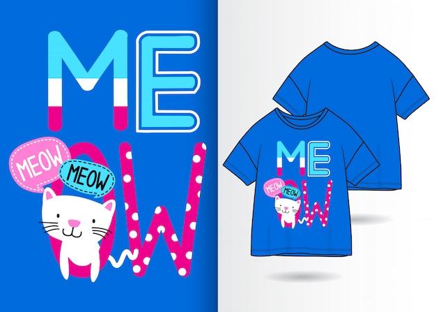 Mão desenhada gatinho fofo ilustração com design de camisa de t Vetor Premium