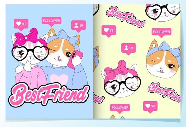 Mão desenhada gato bonito & conjunto de padrão de selfie de cão Vetor Premium